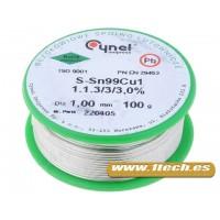 Fundente 100gr Estaño Sn99Cu1 1mm (Libre de plomo)