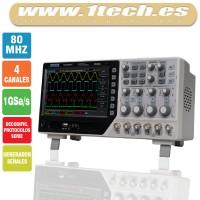 Hantek DSO4084C Osciloscopio 4 Canales / 80MHZ con Generador de Señales