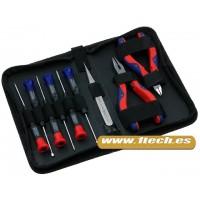 Kit de destornilladores, alicates y pinzas electronica con estuche cremallera