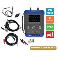 Hantek DSO 1072E Osciloscopio Automoción Protección IP51