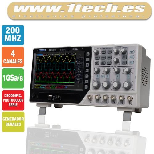 Hantek DSO4204C Osciloscopio 4 Canales / 200MHZ con Generador de Señales