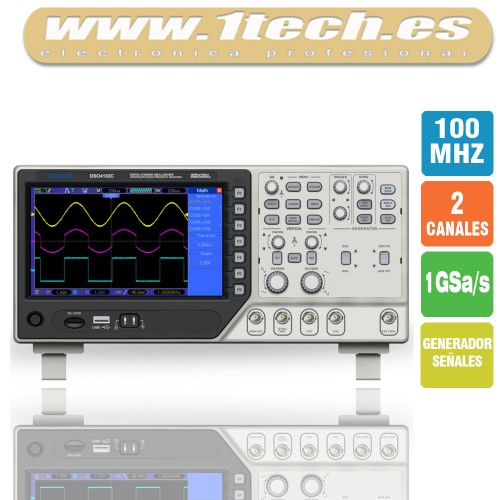 Hantek DSO4102C Osciloscopio 2 Canales / 100MHZ con Generador de Señales