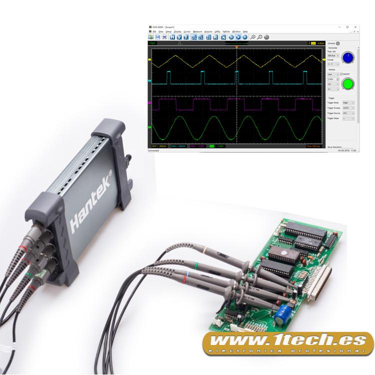Hantek 6074BC osciloscopio USB 4 canales - www.1tech.es