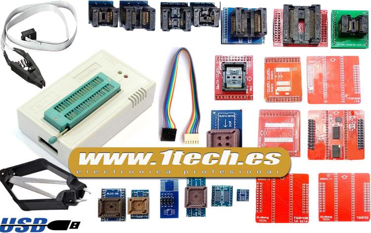 Programador TL866IIPLUS con ICSP y 24 adaptadores