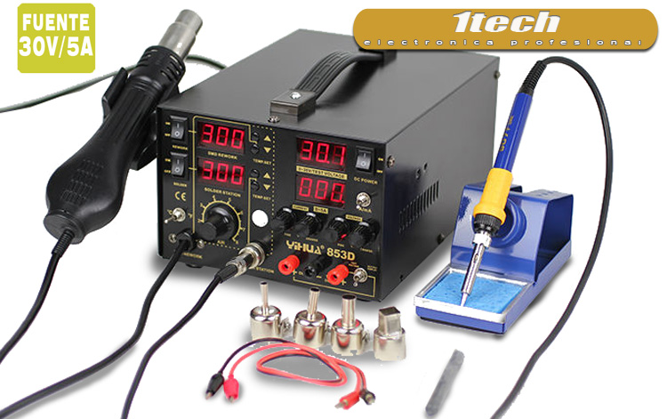 Estación soldadura / Desoldadura con fuente de alimentación 30V/ 5A - www.1tech.es